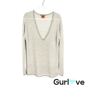 Tory Burch Gold Oversize Knit Sweater Size S
